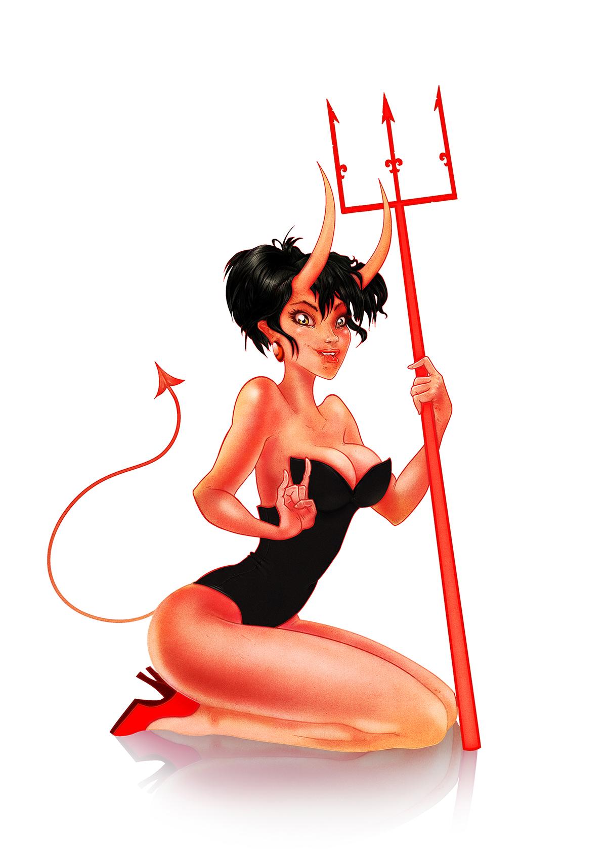 devil girl pin up on wacom gallery