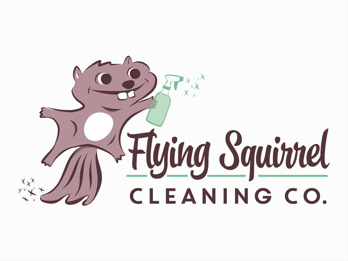 logo branding  color palette squirrel cleaning