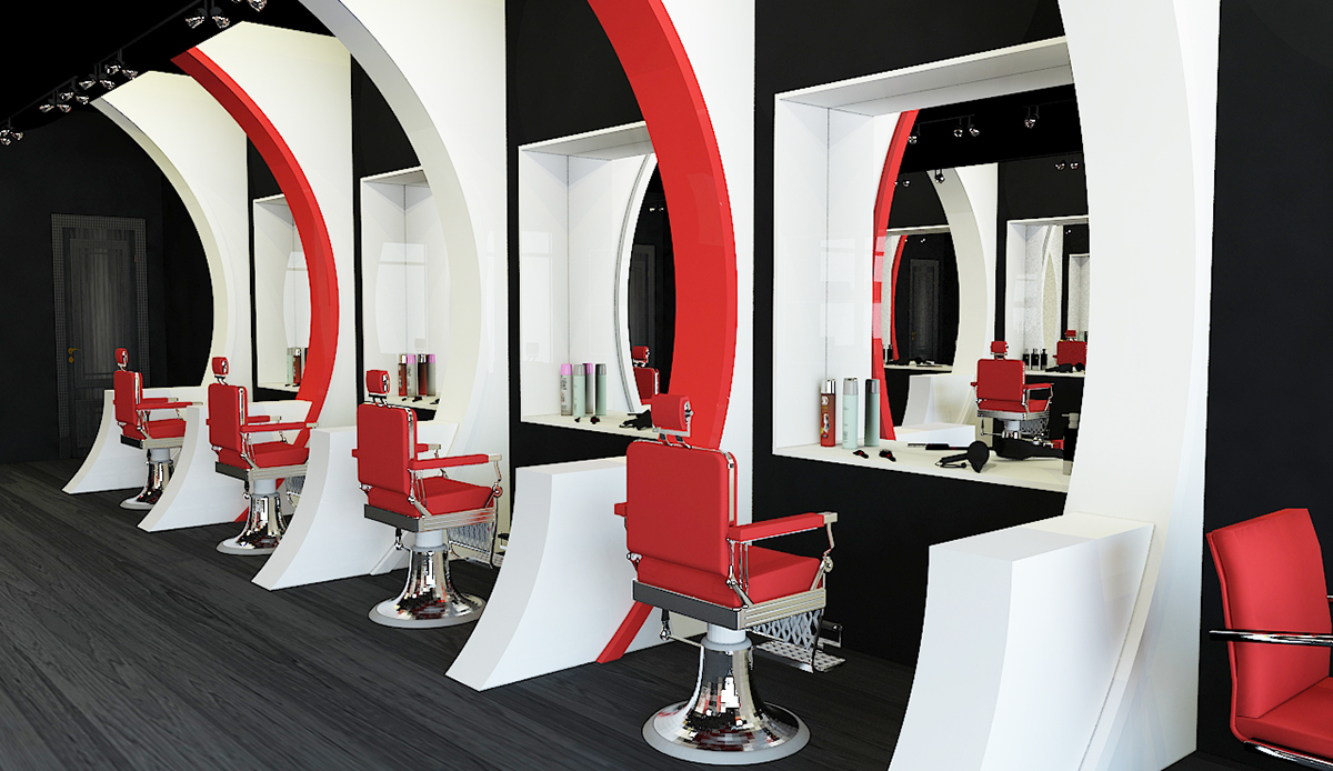 Sonic waves barber shop on behance for Ideas for barbershop interior designs