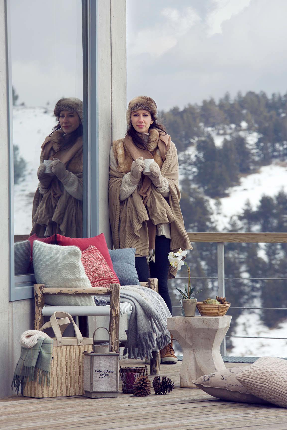 Interior nordic winter snow still life Ski cozy Fur