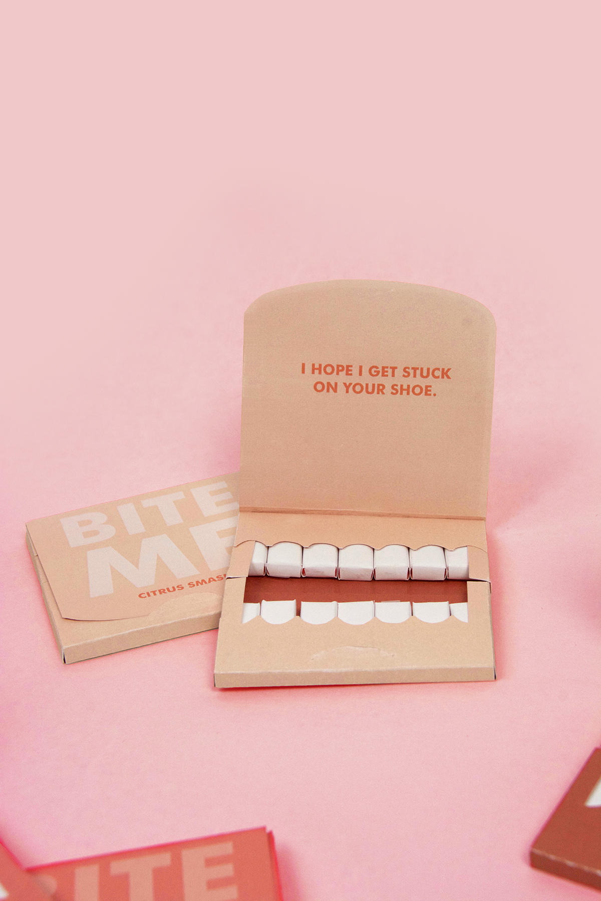 Packaging gum pink Bite Me insult sarcasm Mouth wit