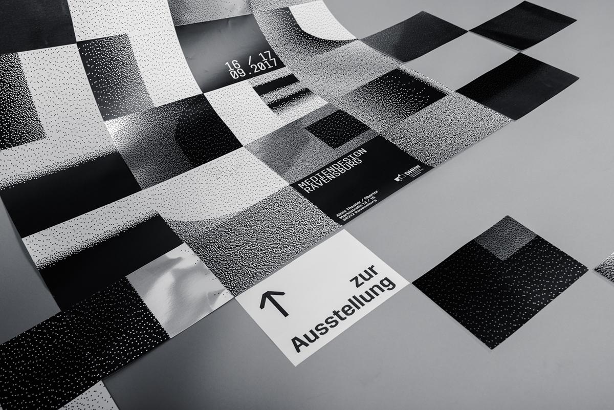 spektrum Werkschau ausstellung Leitsystem graduation bachelorshow blackandwhite pixel typography   graphicdesign