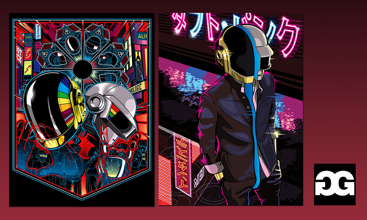 Music gig and art posters on pantone canvas gallery for Daft punk mural