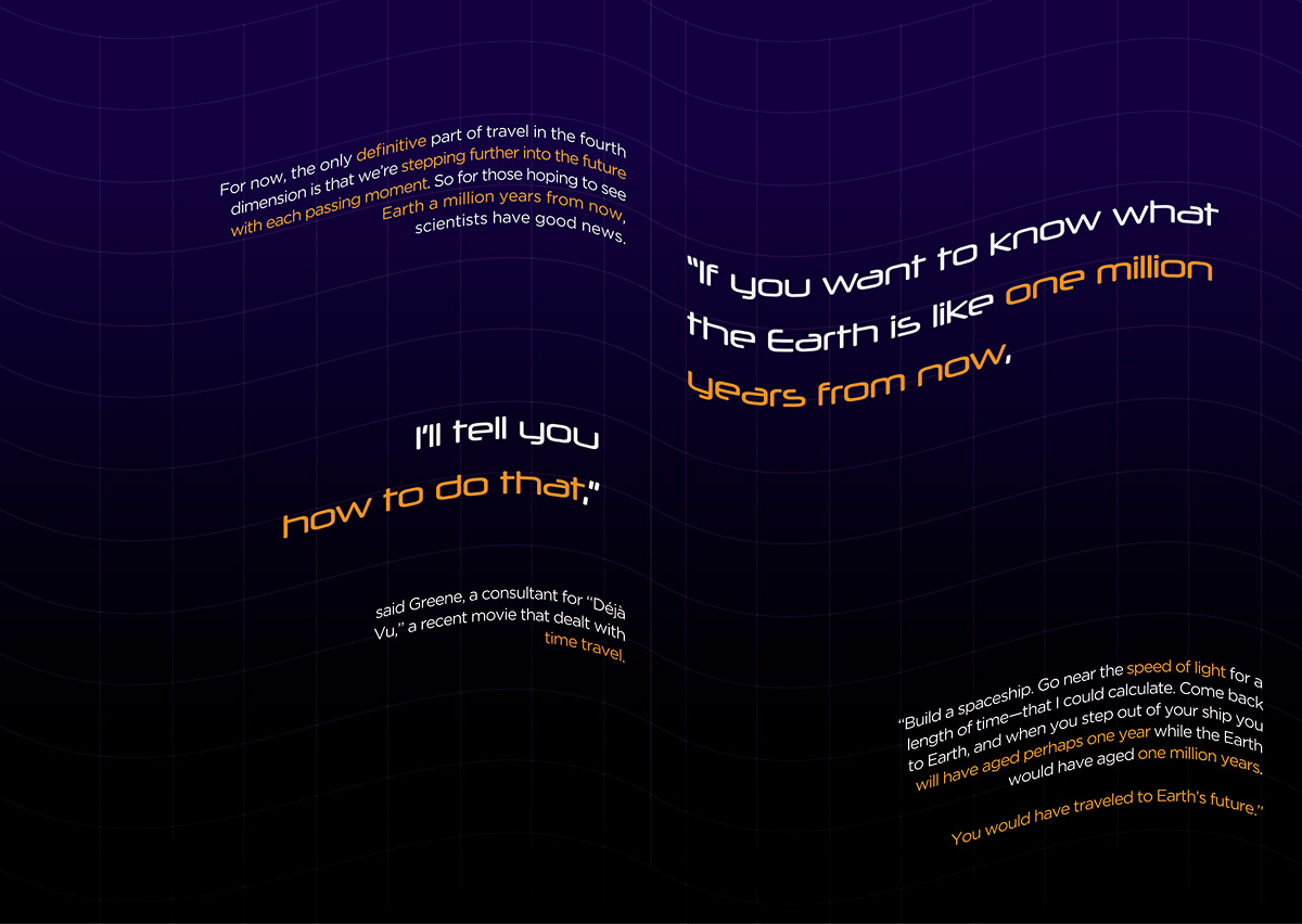concept book design article editorial Sci Fi time travel Space