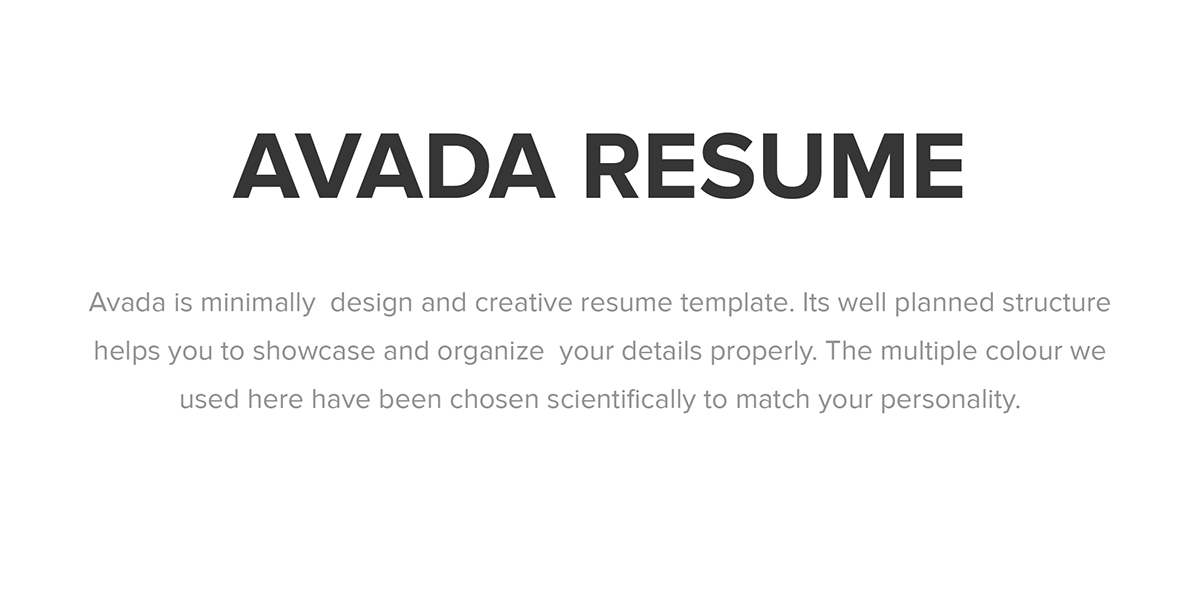 Avada Minimal Resume on Behance