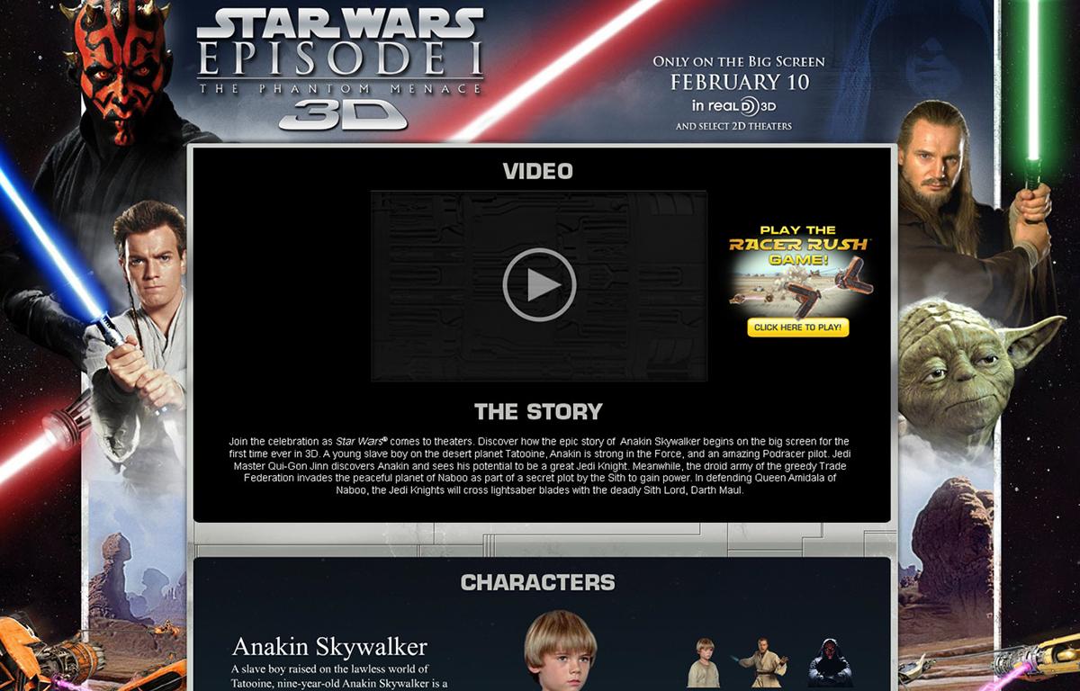 Web Design  interactive graphic design  microsite Flash star wars PBS kids