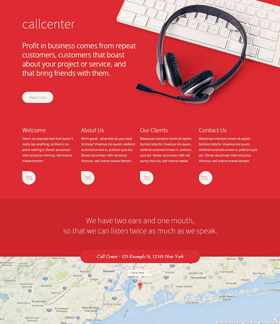 Call Centre Free Website Template on Behance