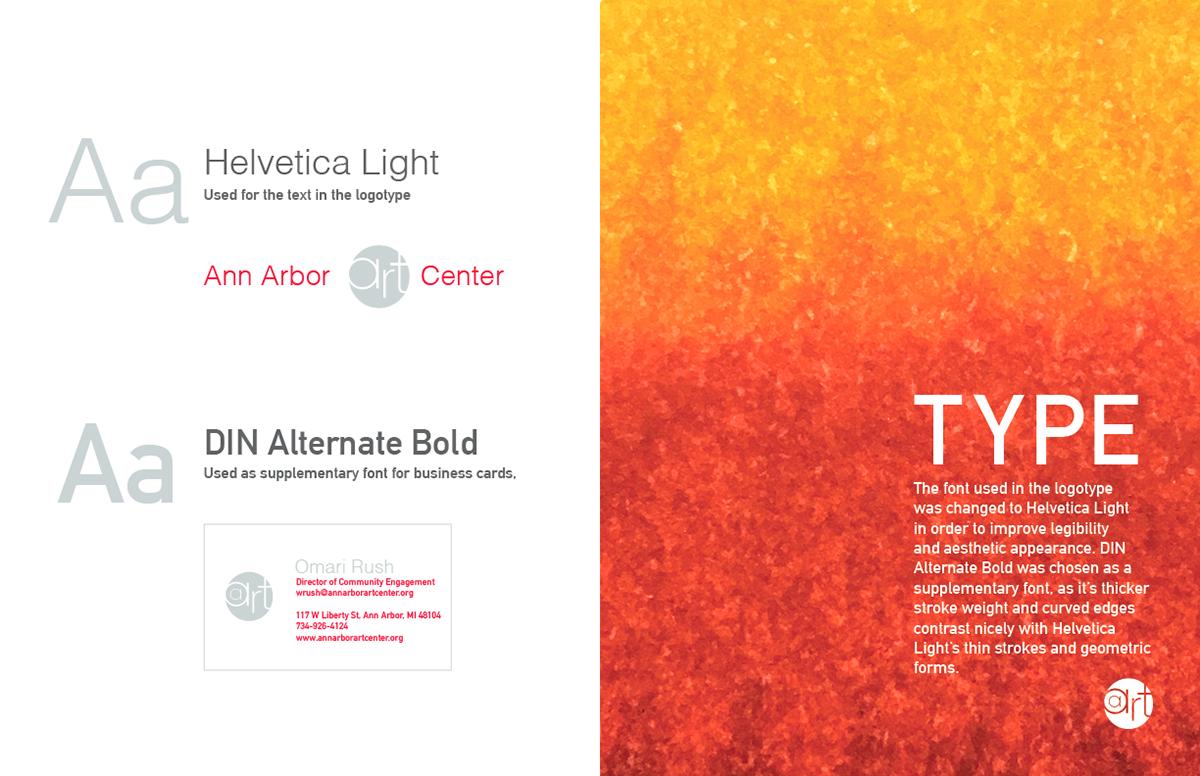 ann arbor art center visual identity brand orange logo