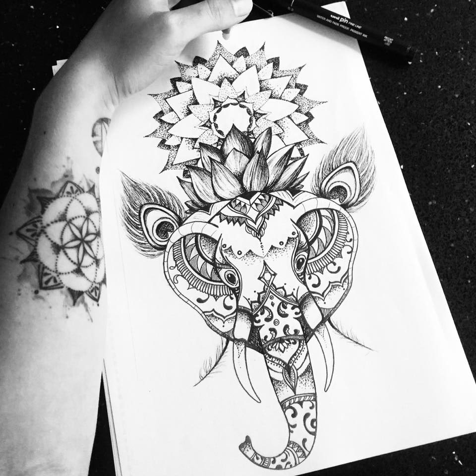 Elephant Lotus Mandala Tattoo Design On Behance