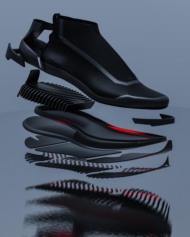 3D adidas CGI design Fashion  footwear Nike product sneaker sports