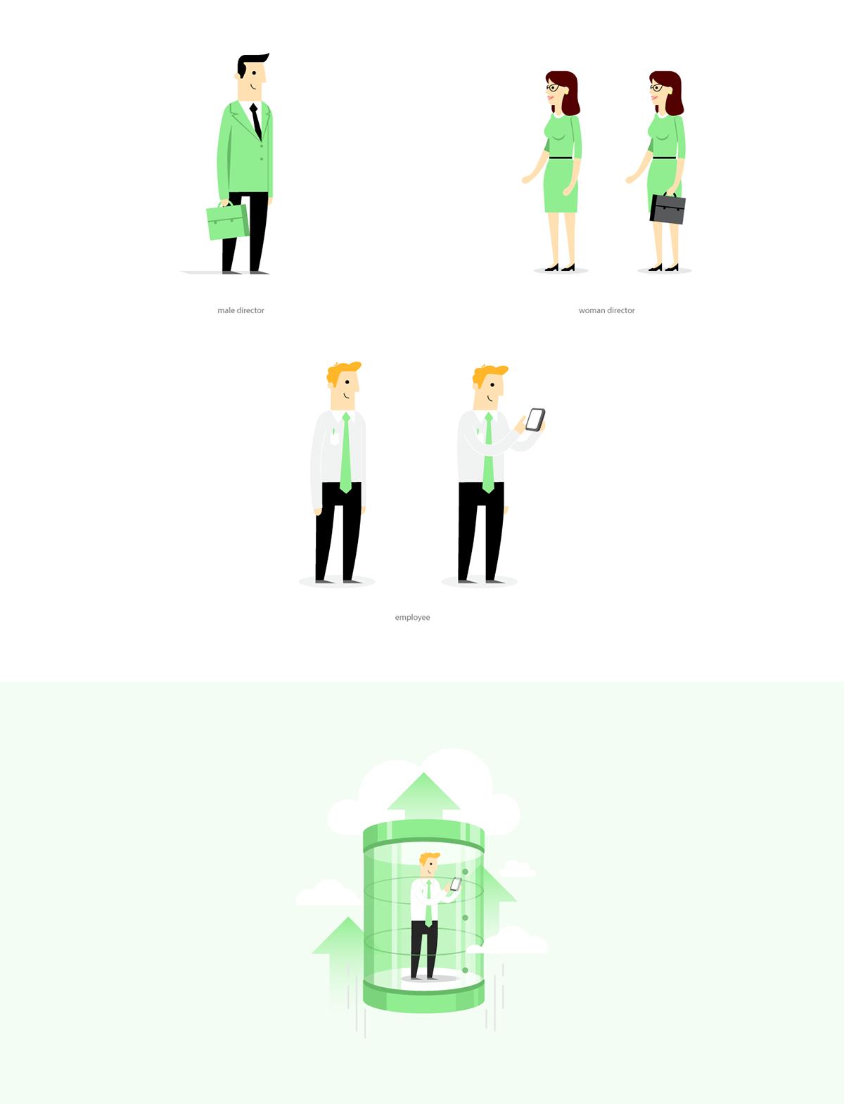 illustrations art graphics charaters design Branded Characters Character design  Illustrator business app branded illustration