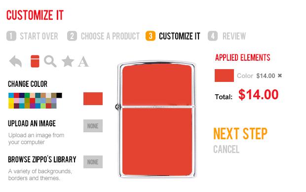 customizer Zippo ui design e-commerce