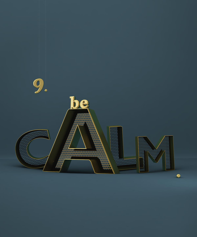 CGI 3D rendering typo gold golden letter lettering CG design metal fischli Weiss swiss homage