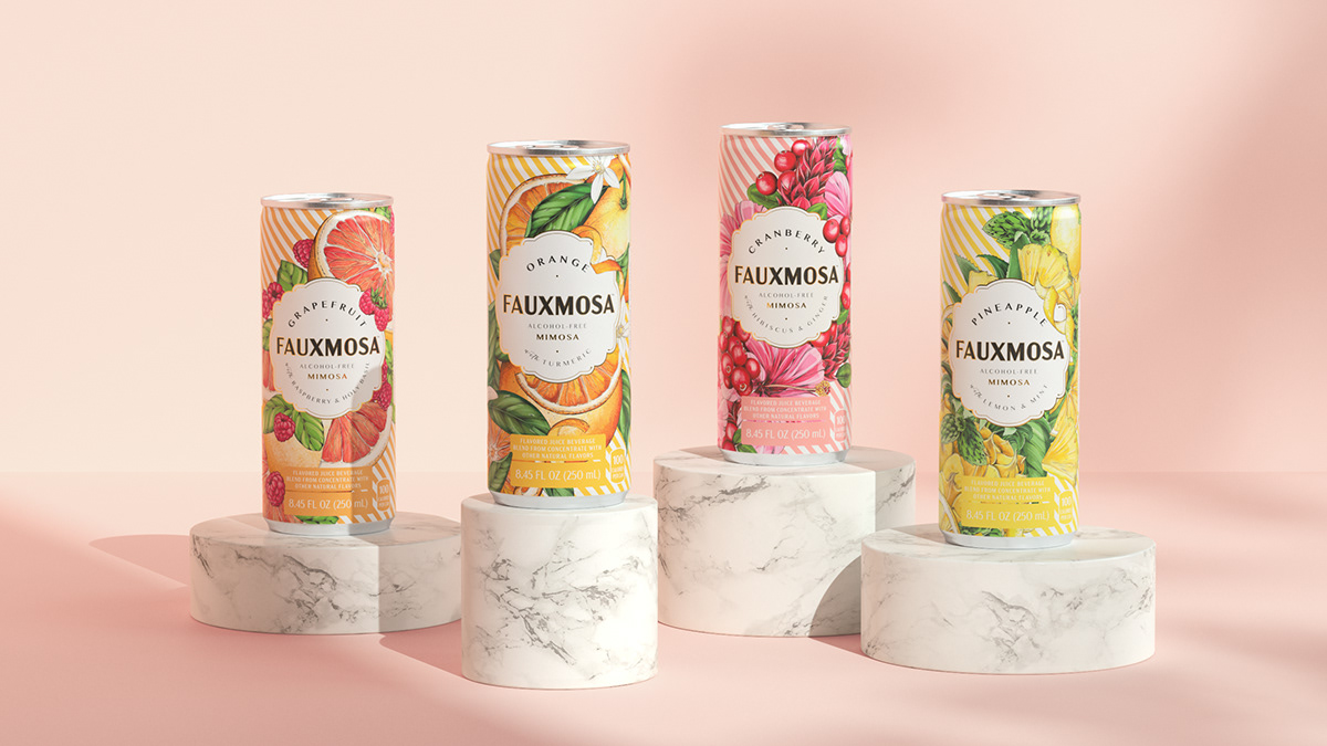 Four cans of FAUXMOSA displayed on marble pedestals.