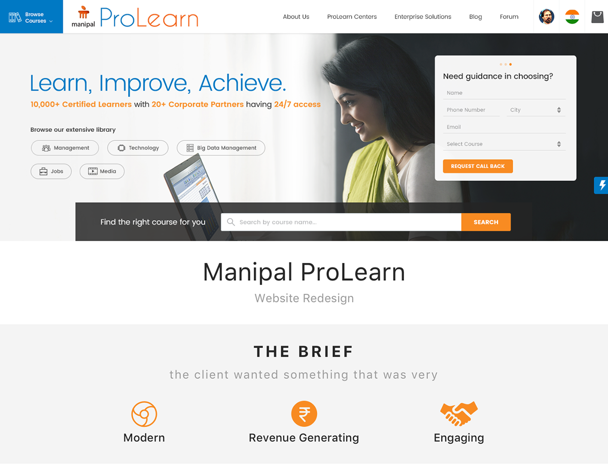 Manipal ProLearn - Website UI Redesign on Pantone Canvas Gallery