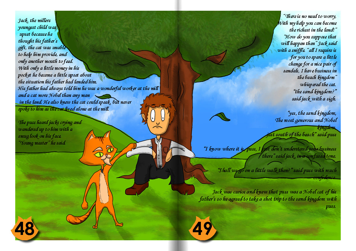 puss IN boots Sandals kids Childeren story book ILLUSTRATION  painting