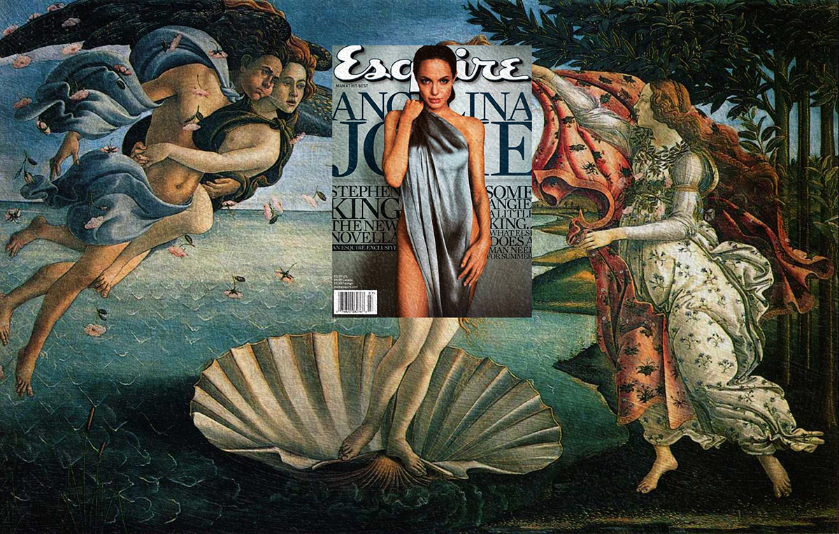 Magazine Cover classical painting mashups Gustav Klimt Angelina Jolie Botticelli Jean-Auguste-Dominique Ingres Beyonce rolling stone Andy Warhol vanity fair harper's bazaar vogue Kanye West kate moss