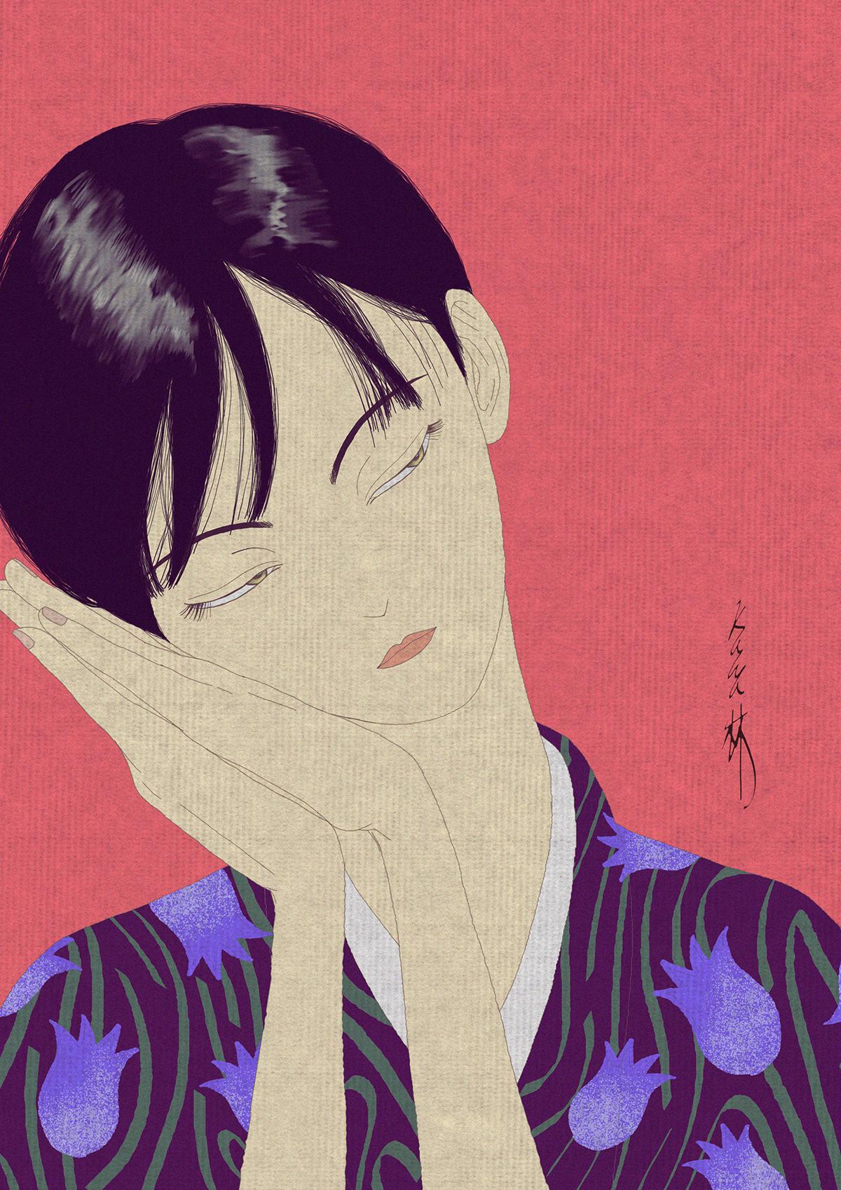 oriental characterdesign figuredrawing pendrawing digitalart coloring DIGITALDRAWING RetroArt Drawing  ILLUSTRATION