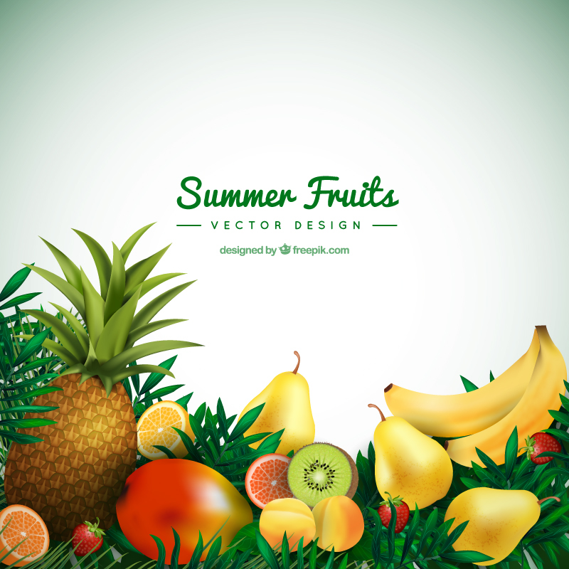 Summer tropical fruits background vectors for freepik on behance stopboris Image collections