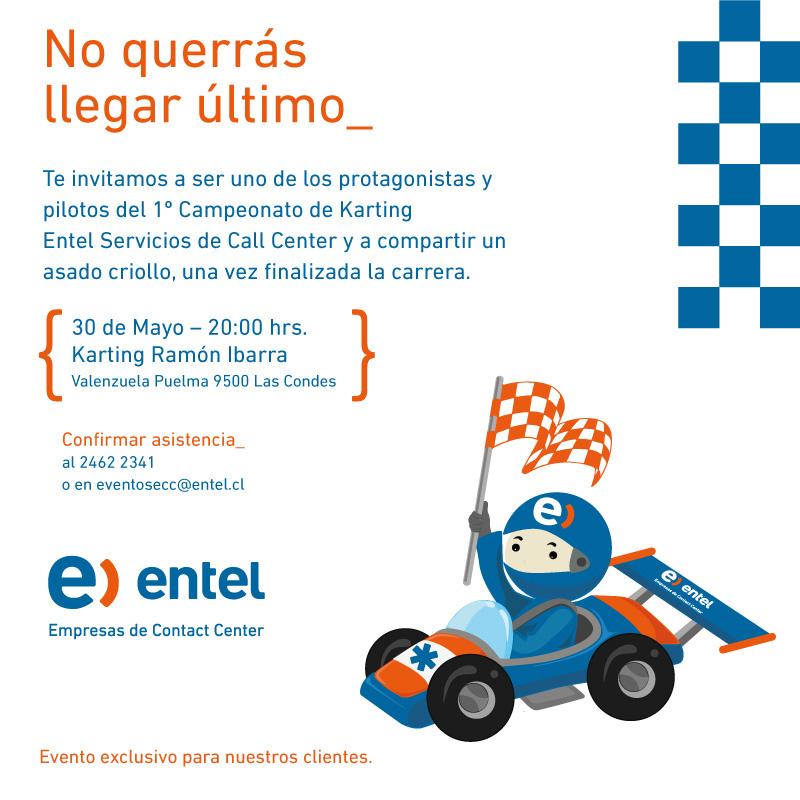 Tarjeta Invitación Karting Entel On Behance