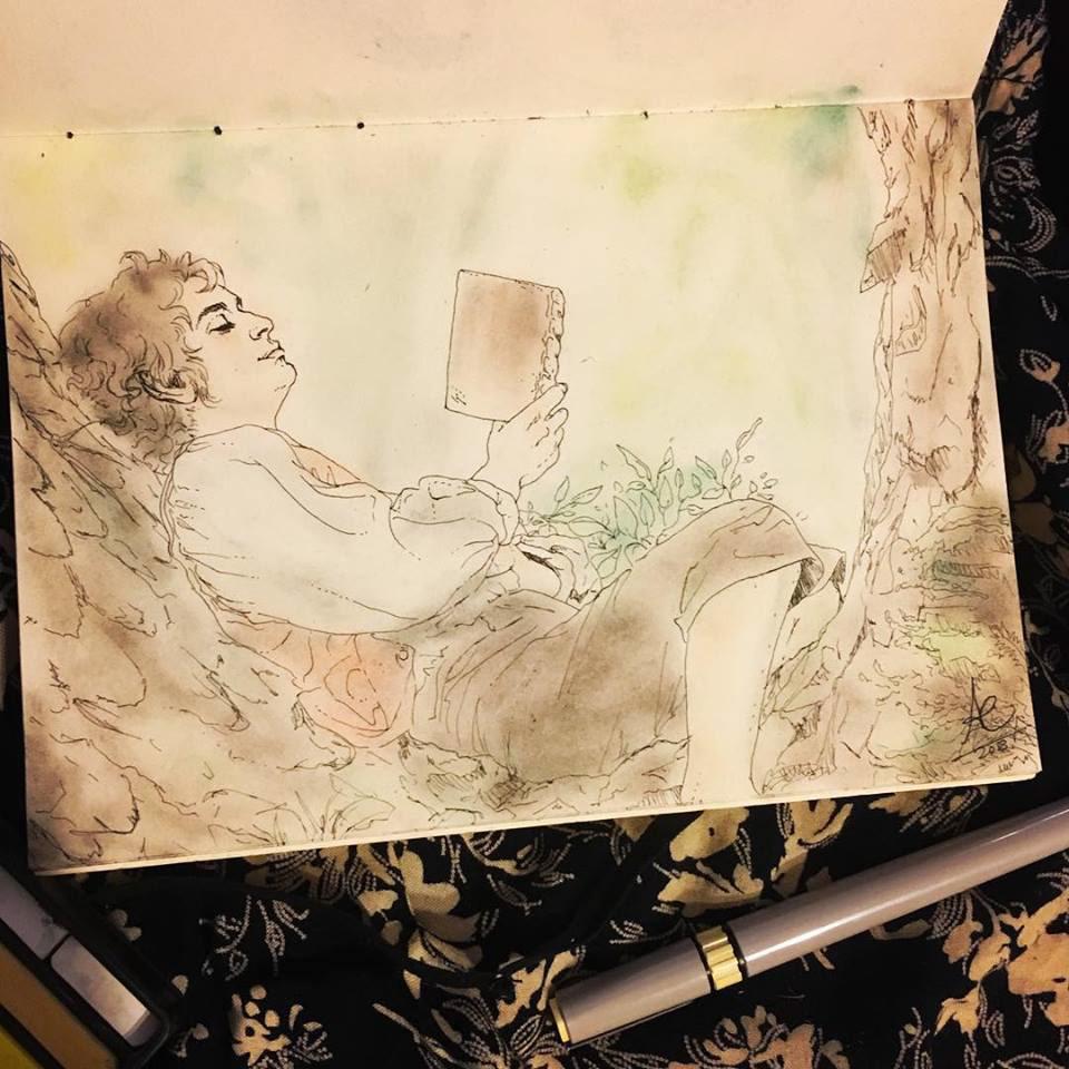 inktober tolkientober ILLUSTRATION  Tolkien hobbit andressacomar watercolor nankin Pastels