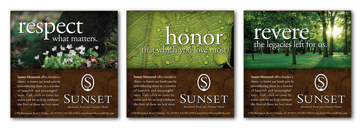 Advertising print media on behance Sunset memory garden funeral home