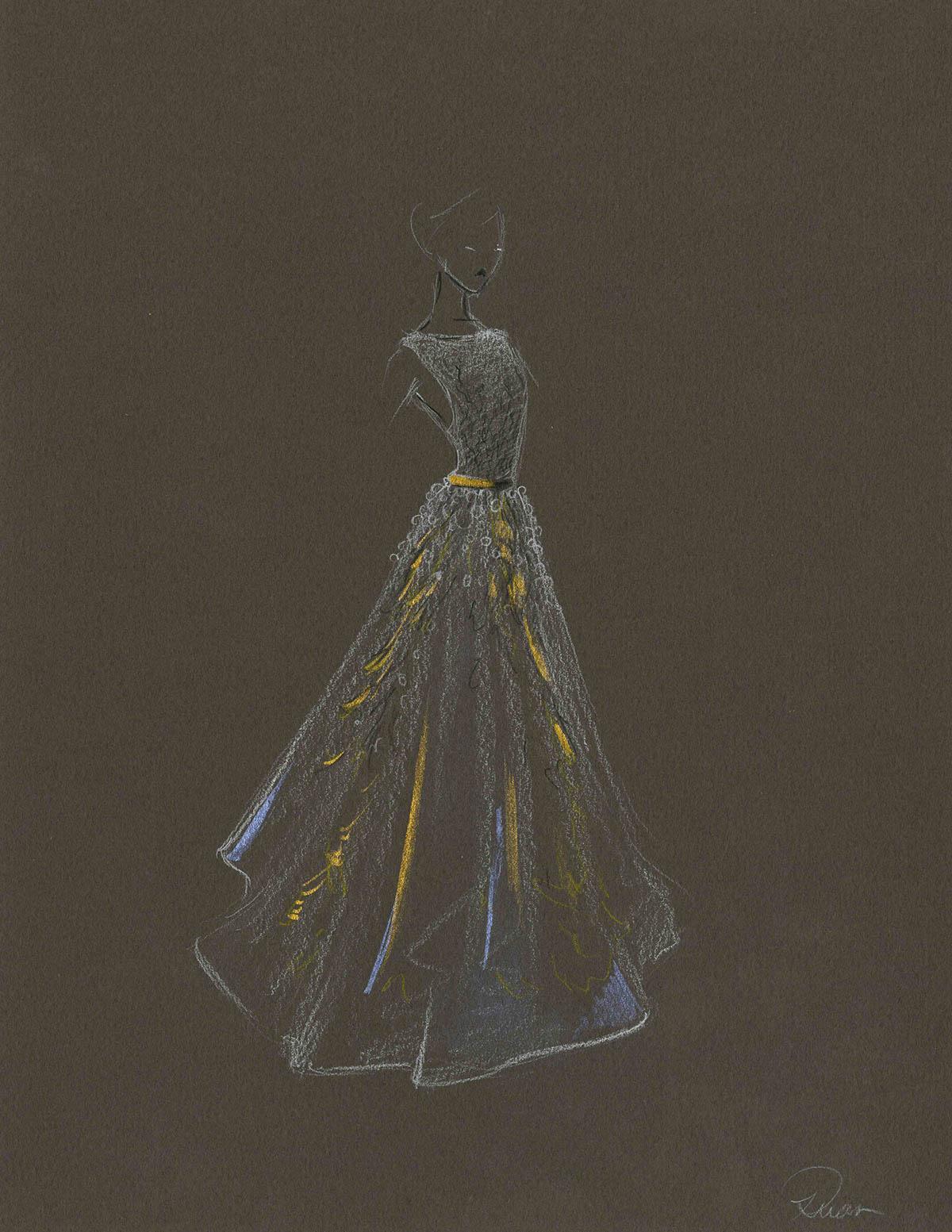 wedding gown dress Fashion  design rendering ILLUSTRATION  croquis