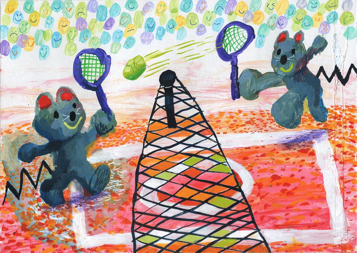 animal illustration mice Personal Illustration self-initiated tennis children's illustration