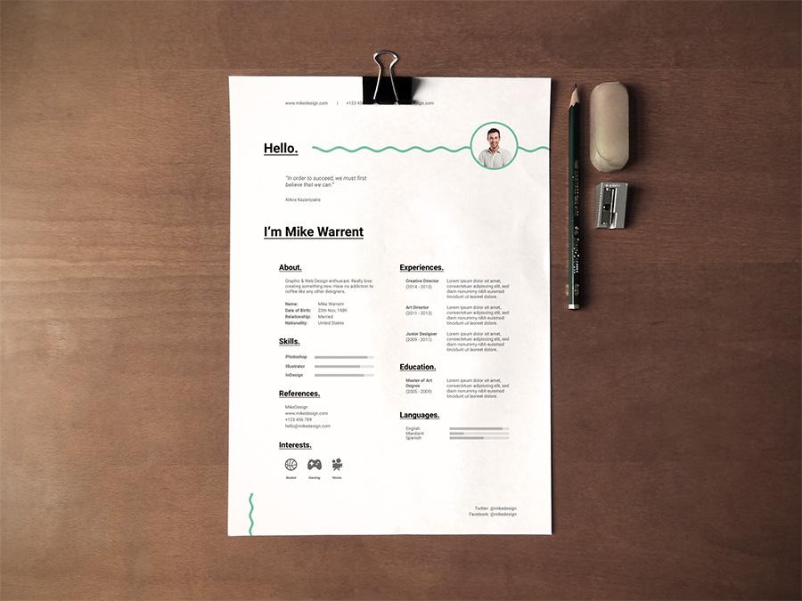 Free Minimalist Resume Template On Behance