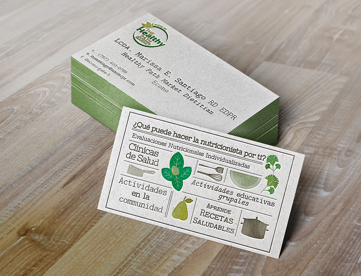 Nutritionist business card design on behance this is a business card design i created for a nutritionist who worked with a chain of grocery stores in puerto rico the nutritionist asked for a colourmoves
