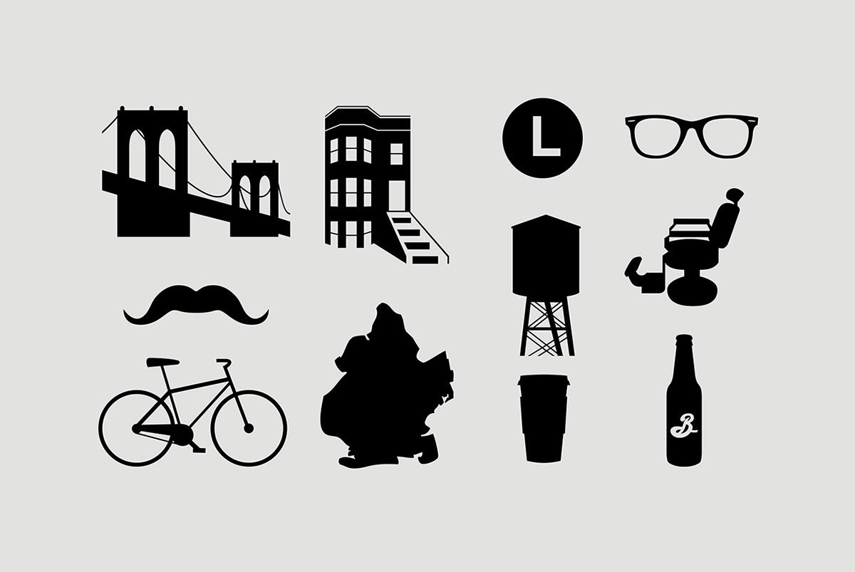 Brooklyn  williamsburg  pictogram  font icon set vector BrookylnCreates