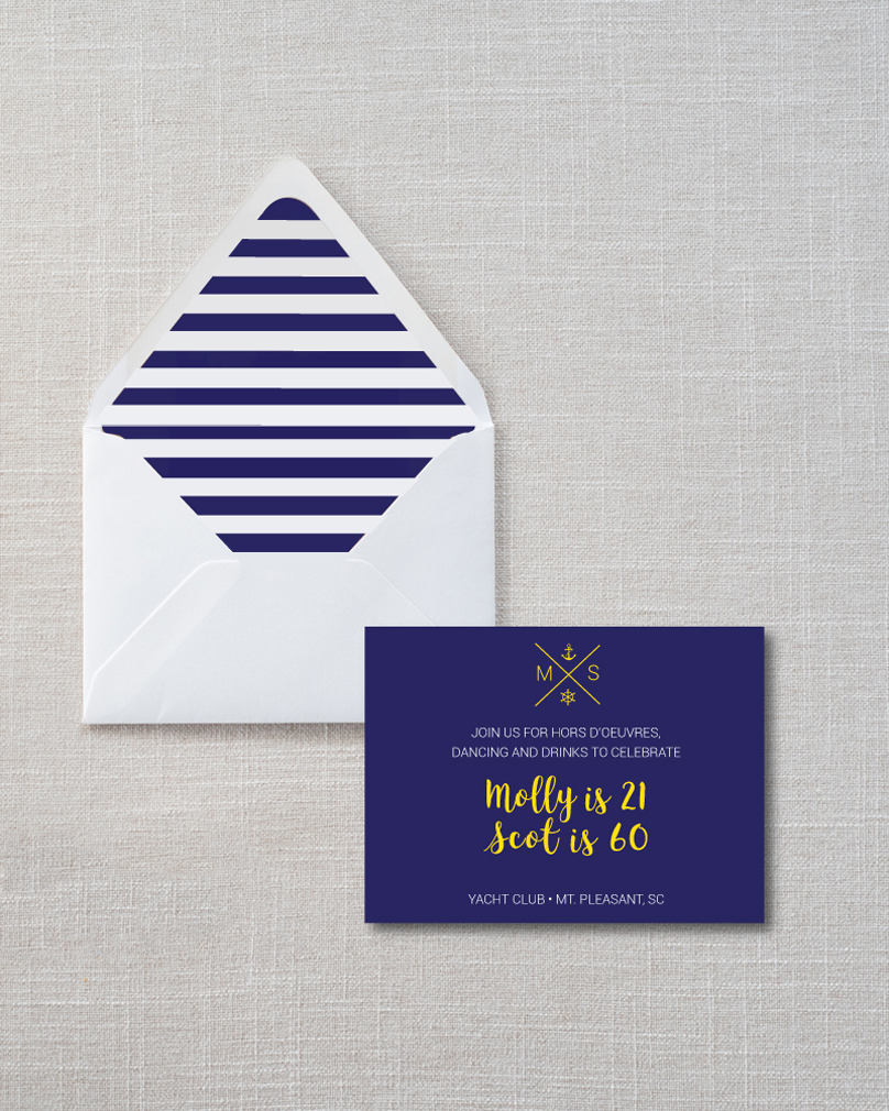 Invitation design for a nautical-themed Birthday party on Behance