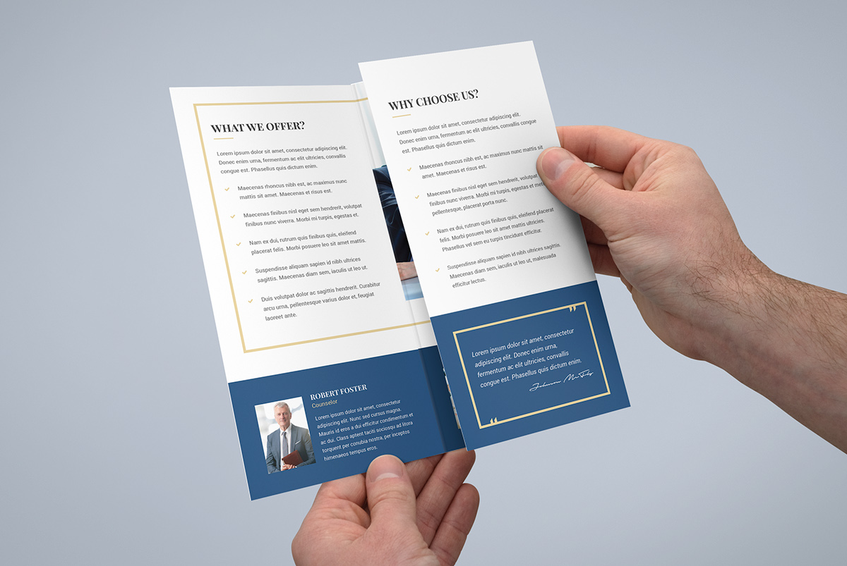 Brochure law firm tri fold template on pantone canvas for Law firm brochure template