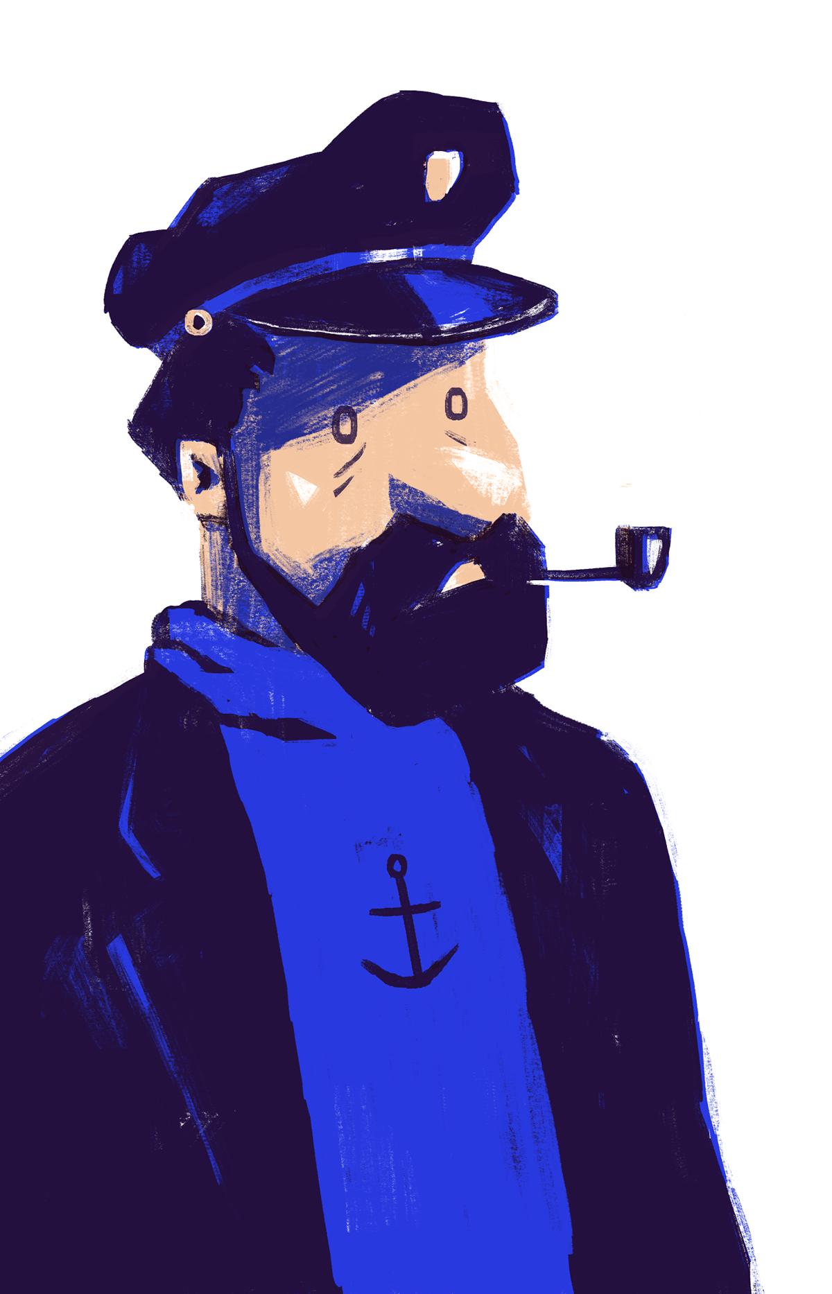 tintin comic band dessinee captain handmade