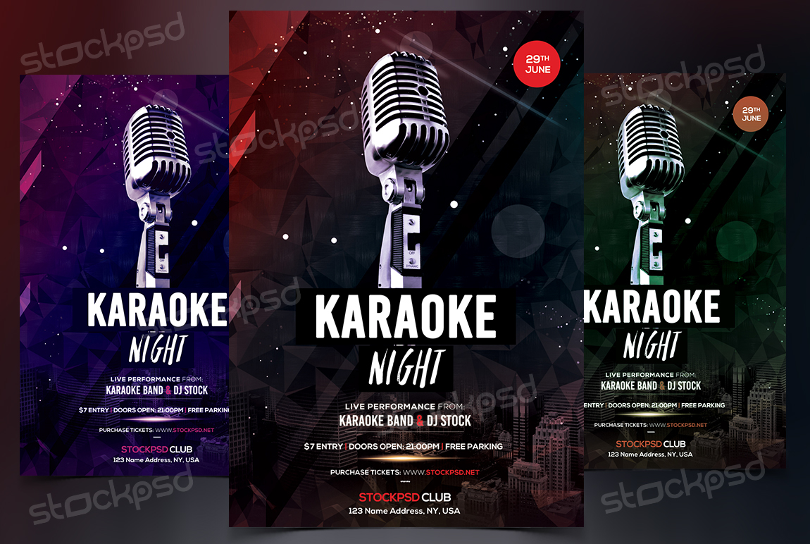 karaoke night free psd flyer template on behance - Free Psd Flyer Templates