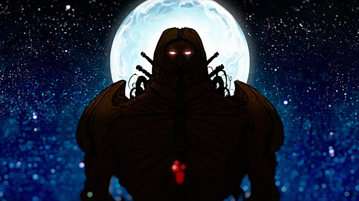 Image may contain: cartoon, moon and dark