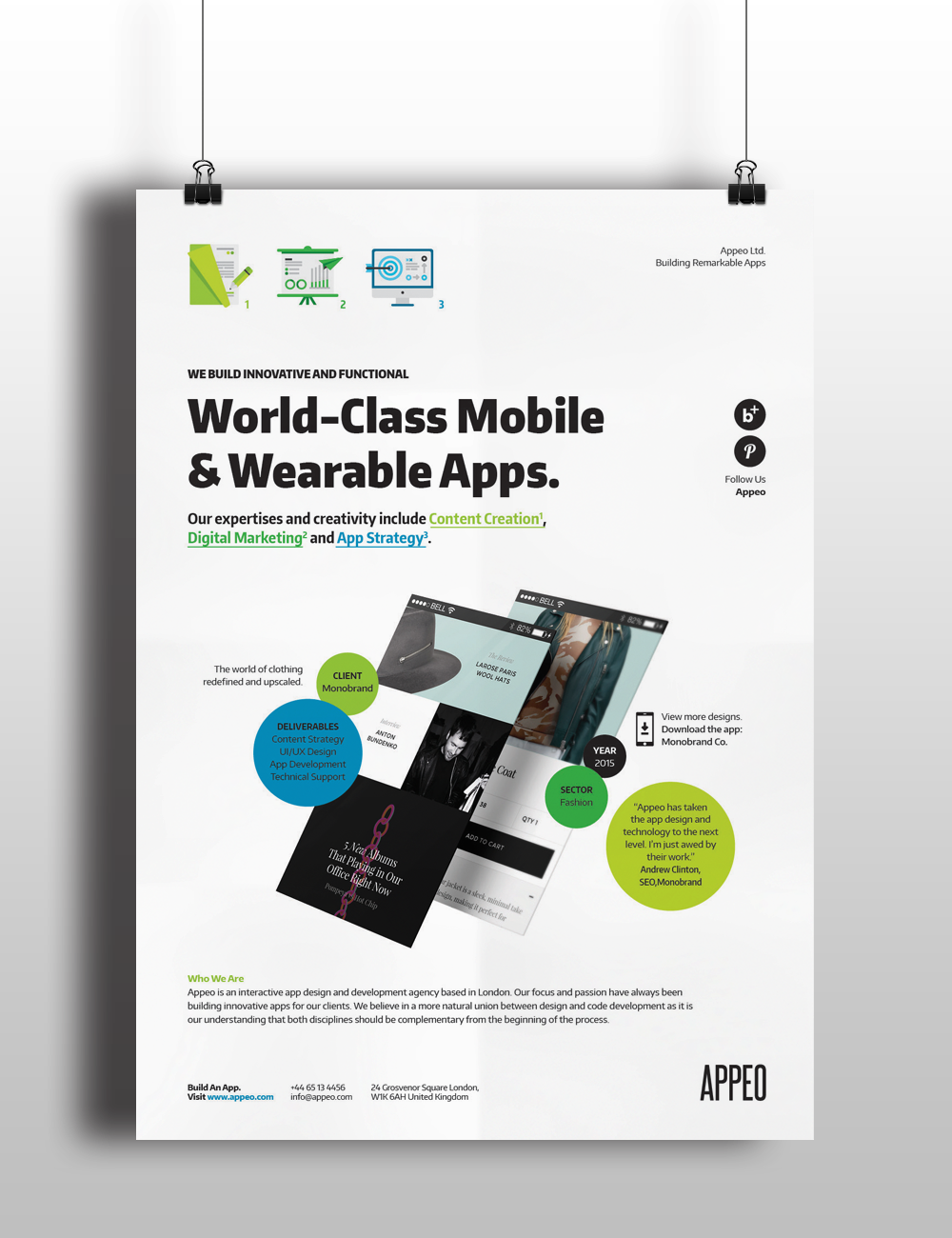 Design Poster Templates - A set of 4 mobile application flyer poster templates created for app studios or agencies to promote their app design and development services