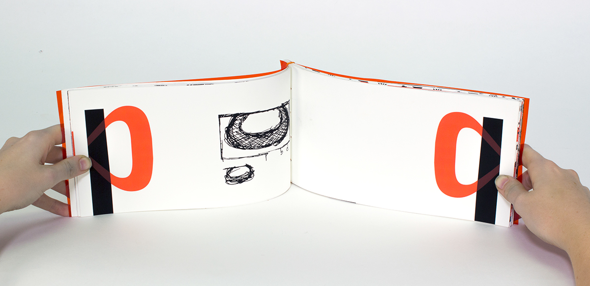type Trade Gothic copperplate explore draw orange book Transparency EXTENDED symmetrical