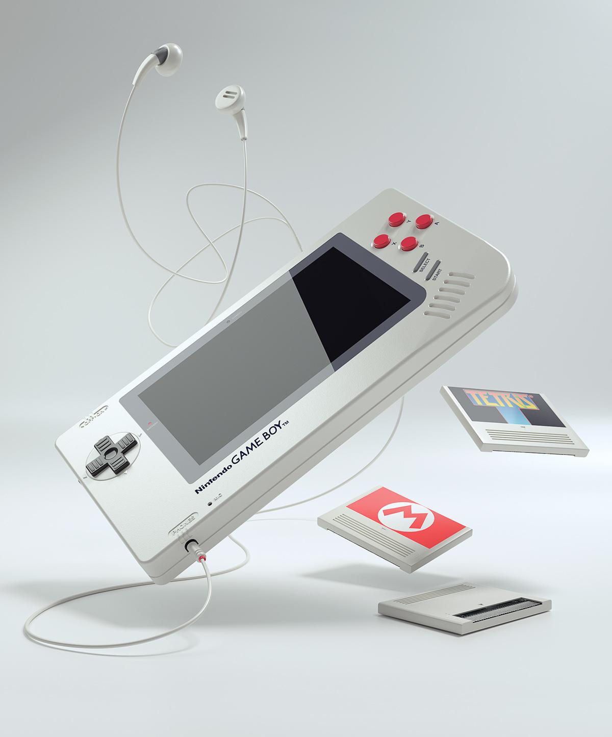Adobe Portfolio gameboy game boy console handheld cartridge Games Nintendo headphones tetris Super Mario package concept screen headphone