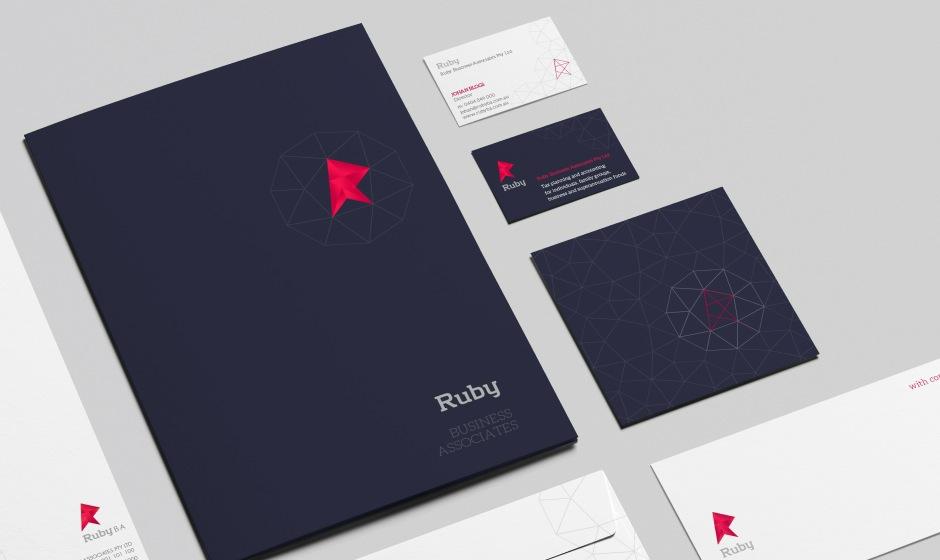 logo mark brand identity type Australia gold coast ruby gem facet stone corporate accountant rubine geometric