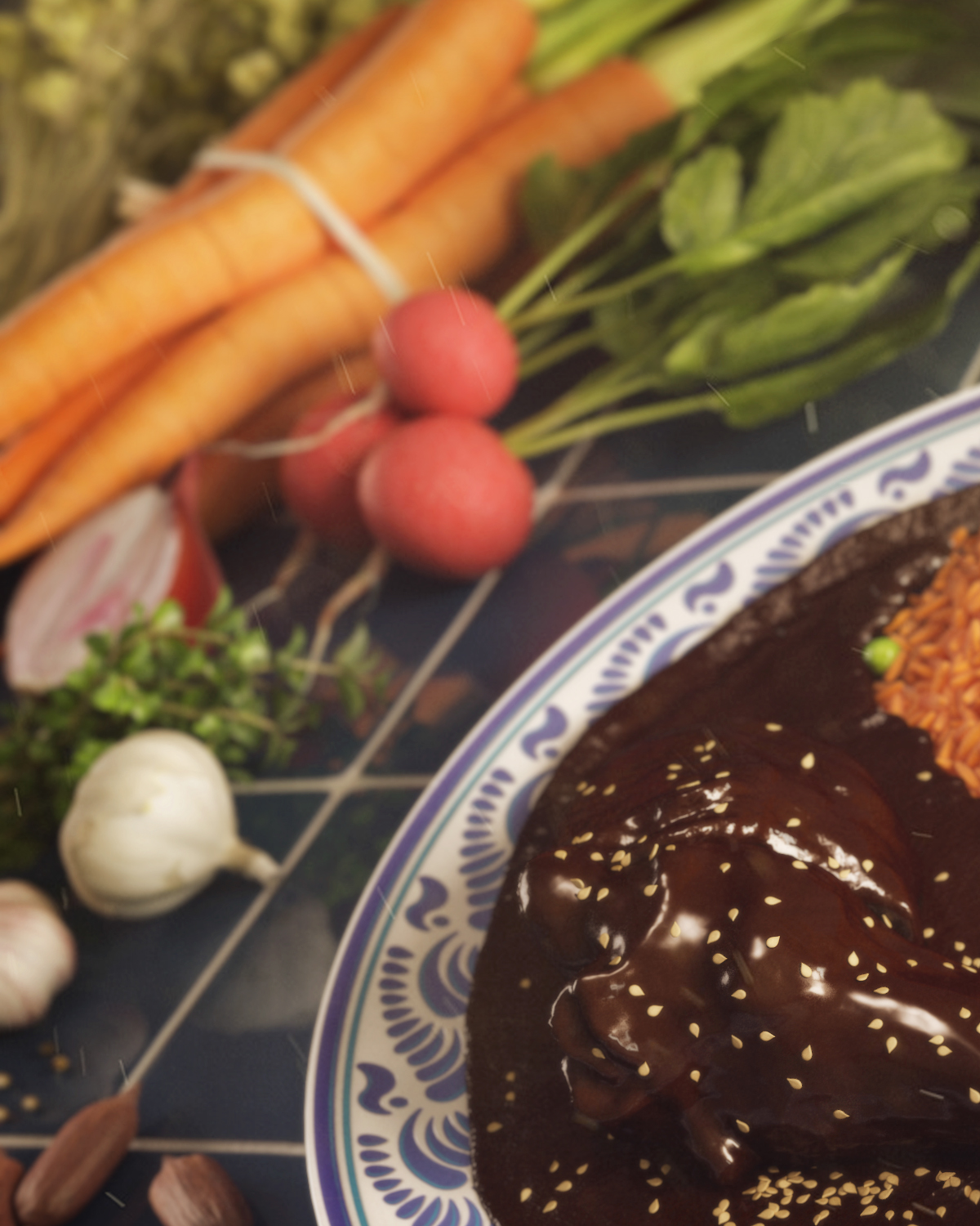 Mole CGI Food  3D chocolate chicken Rice mexico 3ds max vray