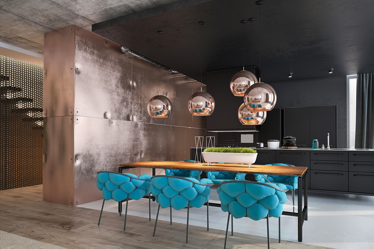 a unique environment makes this loft interior bright and memorable beautiful copper decorations that naturally meet with the chandeliers and the glittering - Copper In Interior Design