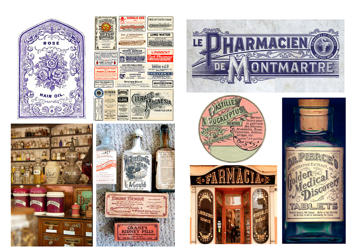 lettering botanical medicinal plants pharmacy farmacia letters design Retail wall Mural Flowers plants buenos aires