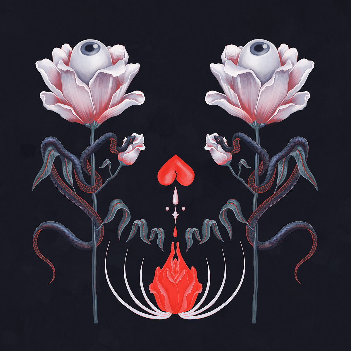 plants vegetation Plant Illustration Nature insect flower night fantasy surreal