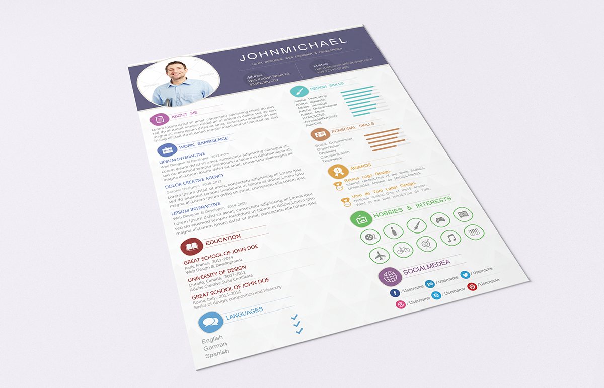 free resume template with cover letterpsd on behance