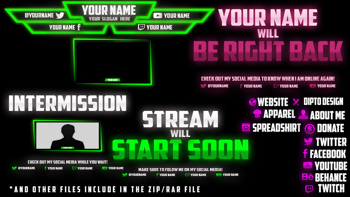 full free twitch overlay template by dipto design on student show