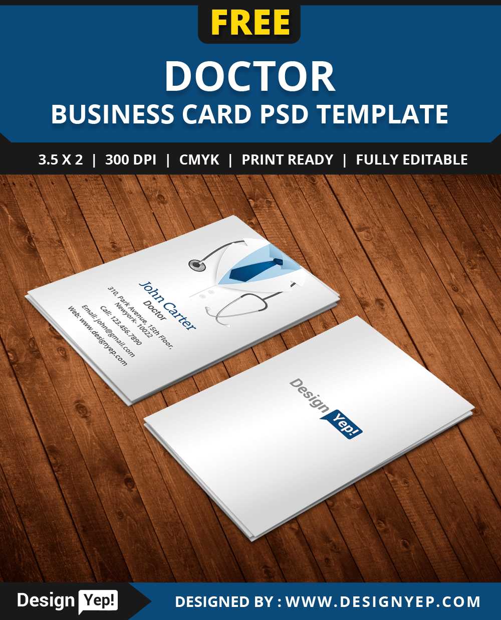 Free doctor business card template psd on behance fbccfo Image collections