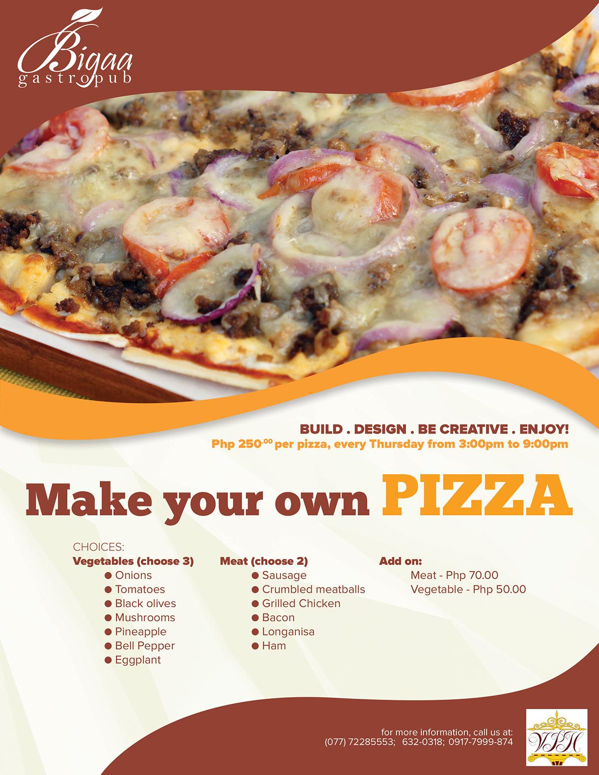 Pizza menu Food  restaurant bigaa vigan