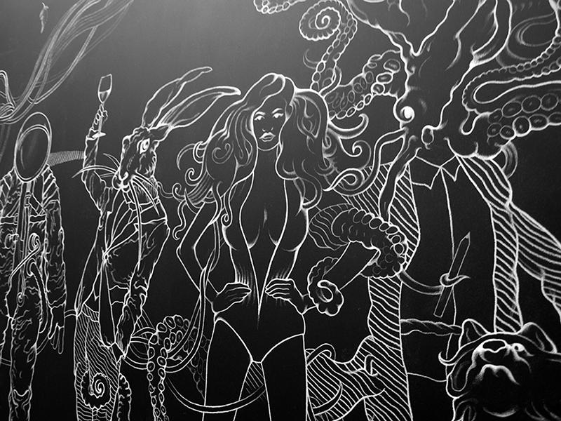 wall Orange Label Character fantasic fantasy fiction chalk blackboard Interior decorative