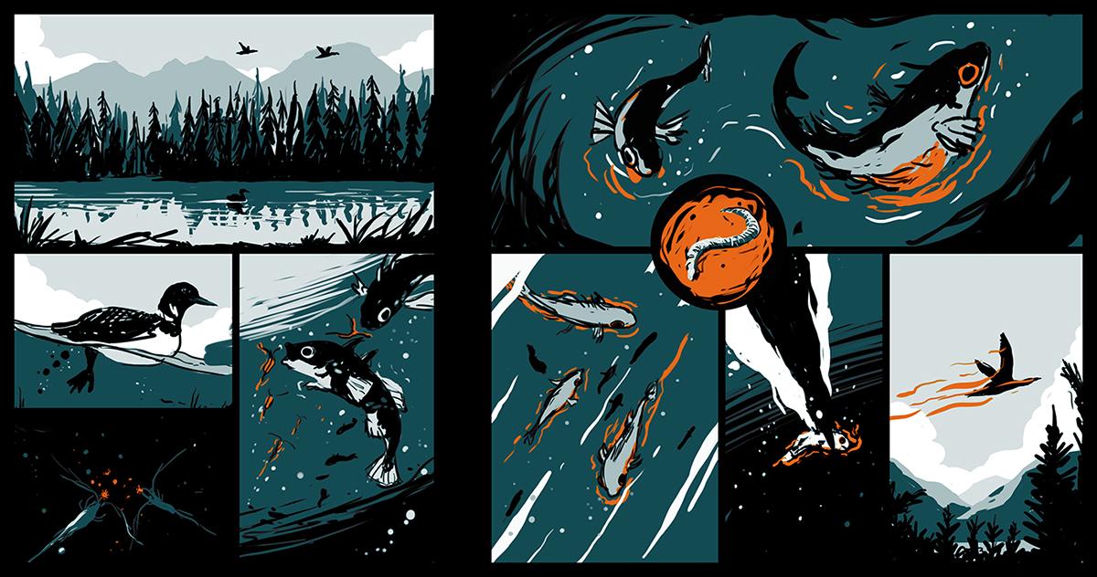 comic strip animals bande dessinée science dark monkey leopard predator fish zombies
